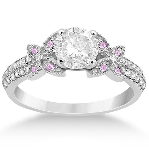 Butterfly Diamond & Pink Sapphire Bridal Set Platinum (0.39ct)