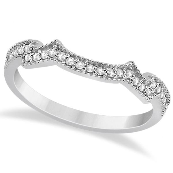 Butterfly Milgrain Diamond Ring Wedding Band Platinum