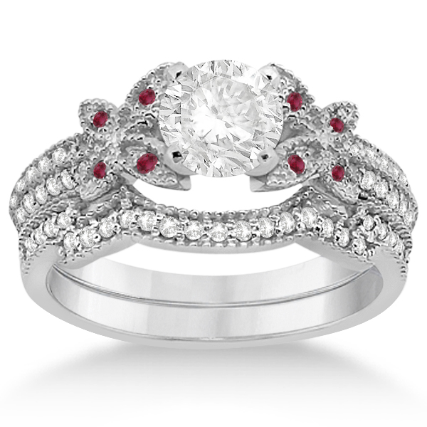 Butterfly Diamond & Ruby Bridal Set 14K White Gold (0.39ct)