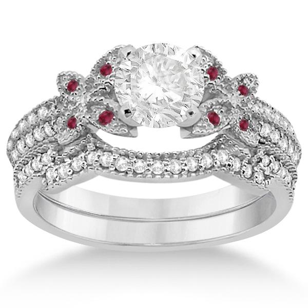 Butterfly Diamond & Ruby Bridal Set 18k White Gold (0.39ct)