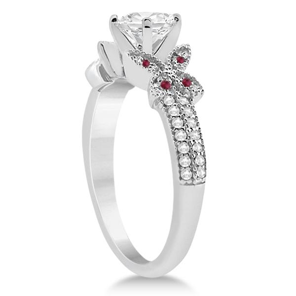 Butterfly Diamond & Ruby Bridal Set Palladium (0.39ct)