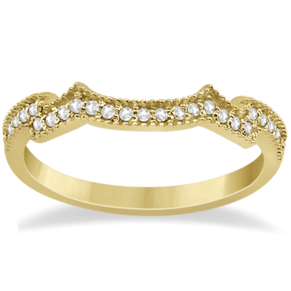 Milgrain Semi-Eternity Diamond Band Setting 14K Yellow Gold (0.15ct)