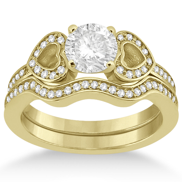 Heart Diamond Engagement Ring & Wedding Band 14K Yellow Gold (0.33ct)