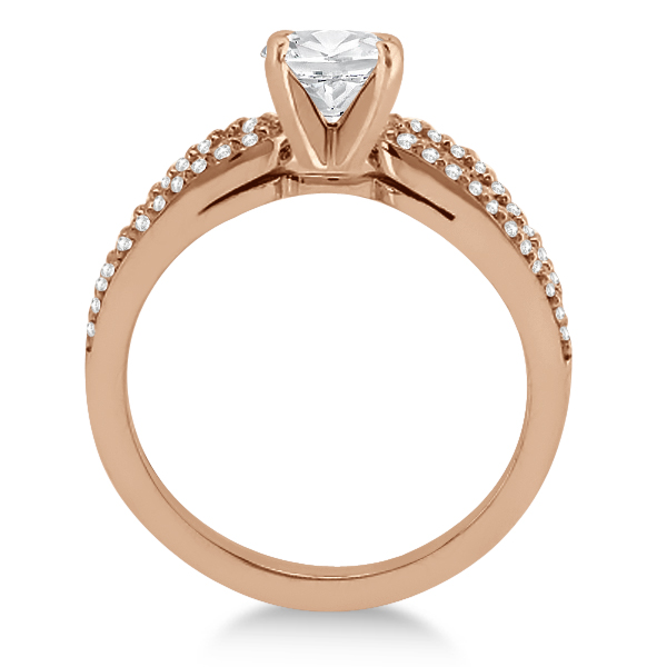 Cathedral Split Shank Diamond Engagement Ring 14K Rose Gold (0.23ct)