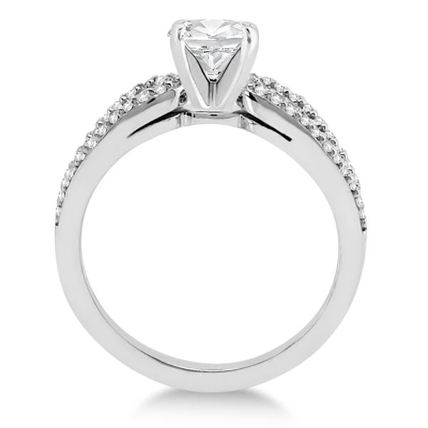 Cathedral Split Shank Diamond Engagement Ring 18K White Gold (0.23ct)