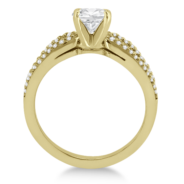 Cathedral Split Shank Diamond Ring & Band Set 14K Yellow Gold (0.35ct)