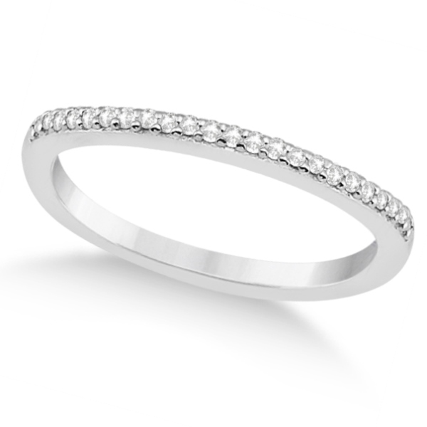 Micro Pave Semi-Eternity Diamond Wedding Band 14K White Gold (0.12ct)