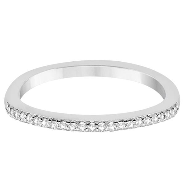 Micro Pave Semi-Eternity Diamond Wedding Band 14K White Gold (0.12ct)