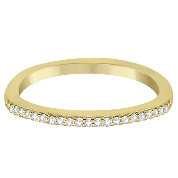 Micro Pave Semi-Eternity Diamond Wedding Band 14K Yellow Gold (0.12ct)