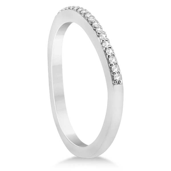 Micro Pave Semi-Eternity Diamond Wedding Band 18K White Gold (0.12ct)