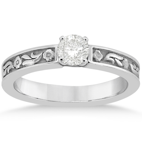 Hand Carved Flower Design Solitaire Engagement Ring 14k White Gold