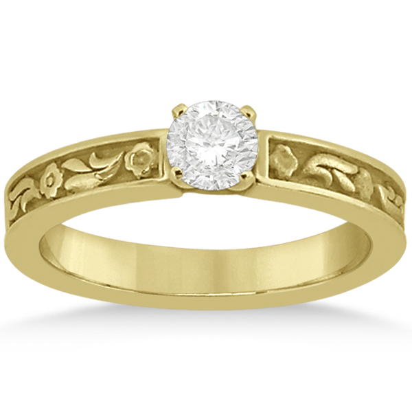 Hand Carved Flower Design Solitaire Engagement Ring 14k Yellow Gold