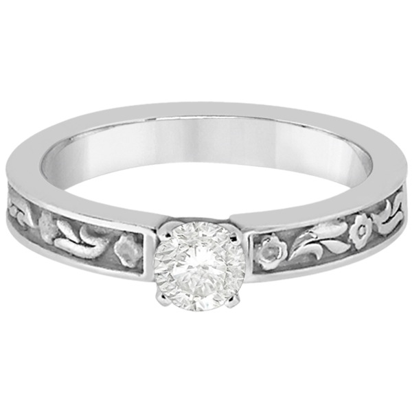 Hand-Carved Flower Design Solitaire Engagement Ring in 18k White Gold