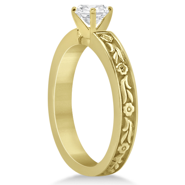 Carved Eternity Flower Design Solitaire Bridal Set in 18k Yellow Gold