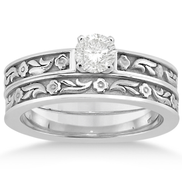 Carved Eternity Flower Design Solitaire Bridal Set in Platinum