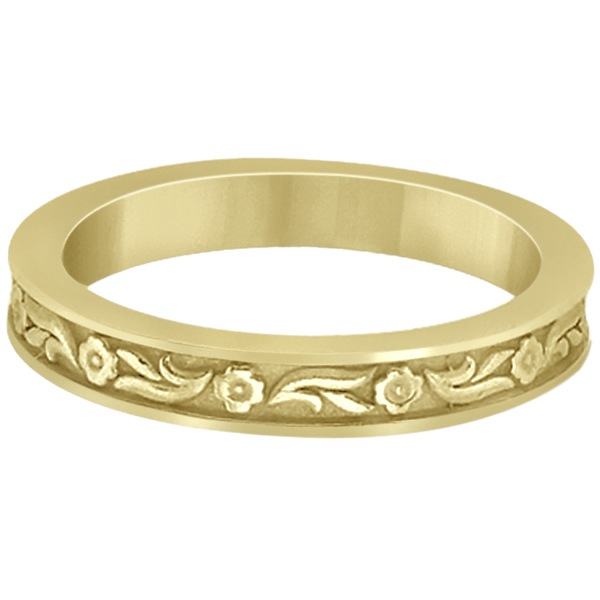 Hand-Carved Eternity Flower Design Wedding Band in 18k Yellow Gold