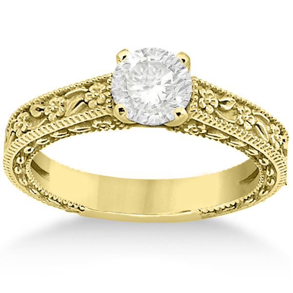 Carved Flower Solitaire Engagement Ring Setting in 14K Yellow Gold