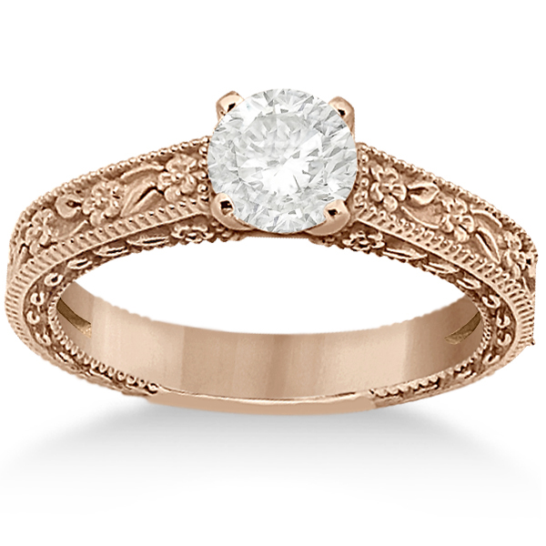 Carved Flower Solitaire Engagement Ring Setting in 18K Rose Gold