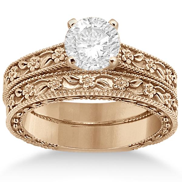 Carved Floral Wedding Set Engagement Ring & Band 14K Rose Gold