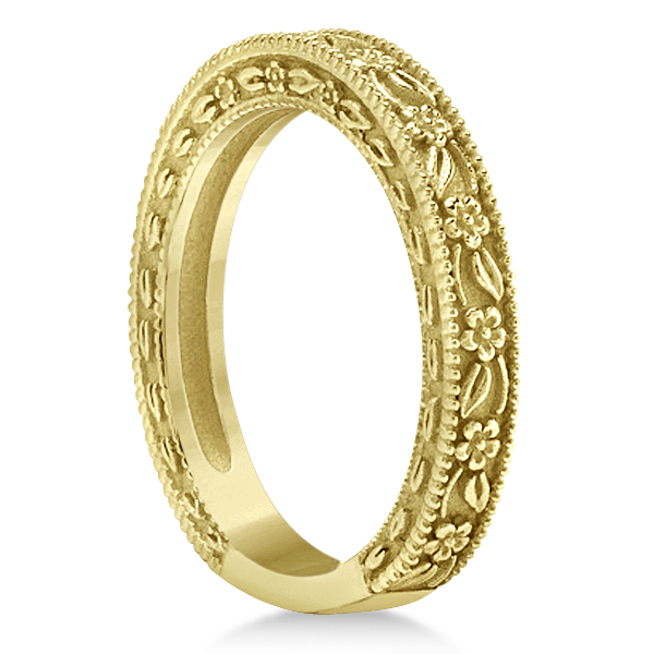 Carved Floral Wedding Set Engagement Ring & Band 14K Yellow Gold