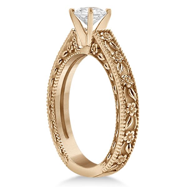 Carved Floral Wedding Set Engagement Ring & Band 18K Rose Gold