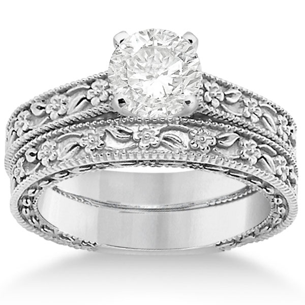 Carved Floral Wedding Set Engagement Ring & Band in Palladium