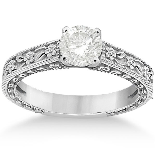 Carved Floral Wedding Set Engagement Ring & Band Platinum