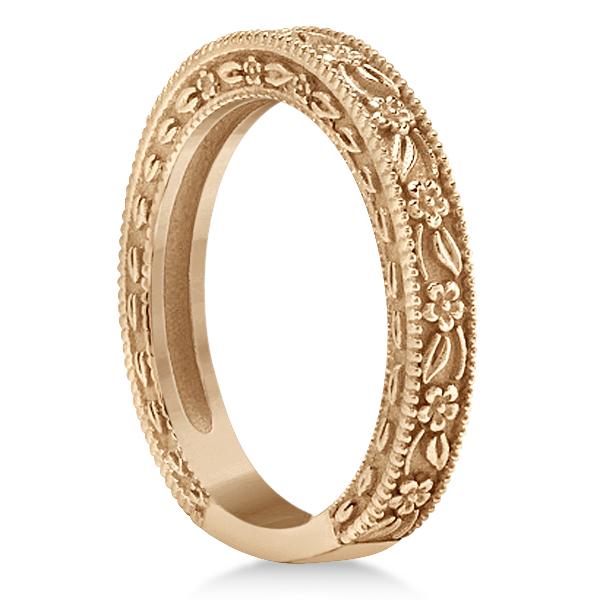 Carved Floral Designed Wedding Band Anniversary Ring in 14K Rose Gold