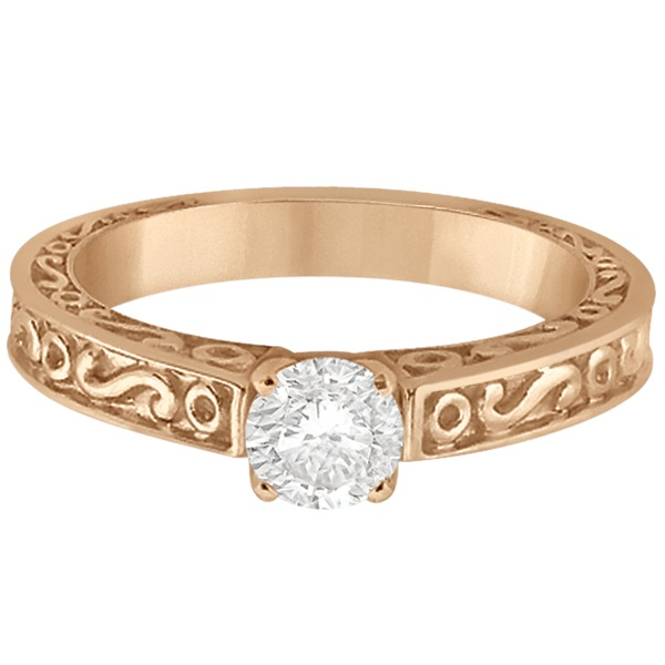 Hand-Carved Infinity Design Solitaire Engagement Ring 14k Rose Gold