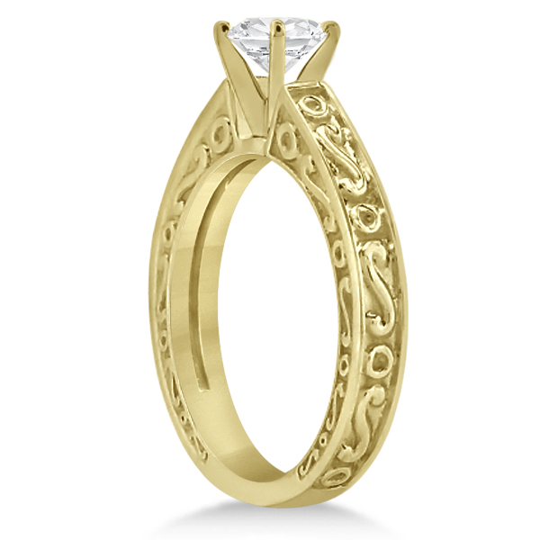 Hand-Carved Infinity Design Solitaire Engagement Ring 14k Yellow Gold
