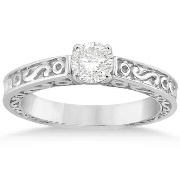 Hand-Carved Infinity Design Solitaire Engagement Ring 18k White Gold
