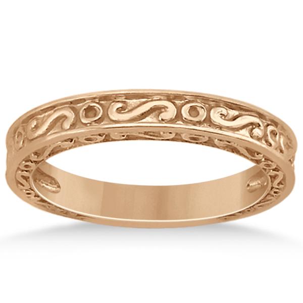 Hand-Carved Infinity Design Filigree Wedding Band in 14k Rose Gold