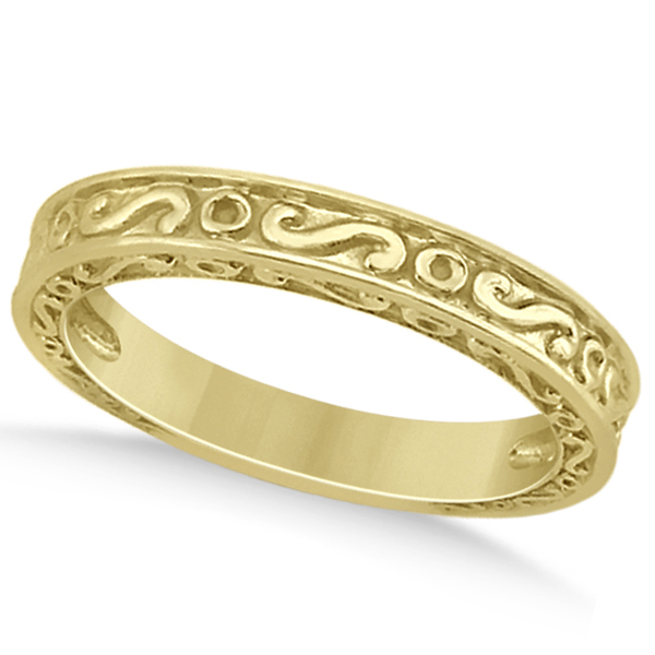 Hand-Carved Infinity Design Filigree Wedding Band in 14k Yellow Gold