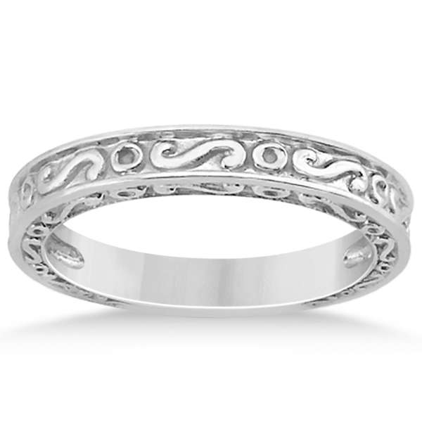 Hand-Carved Infinity Design Filigree Wedding Band in 18k White Gold