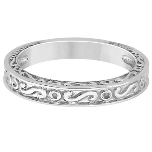 Hand-Carved Infinity Design Filigree Wedding Band in Platinum