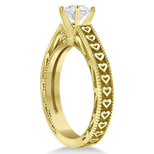 Solitaire Engagement Ring Setting with Carved Hearts 14K Yellow Gold
