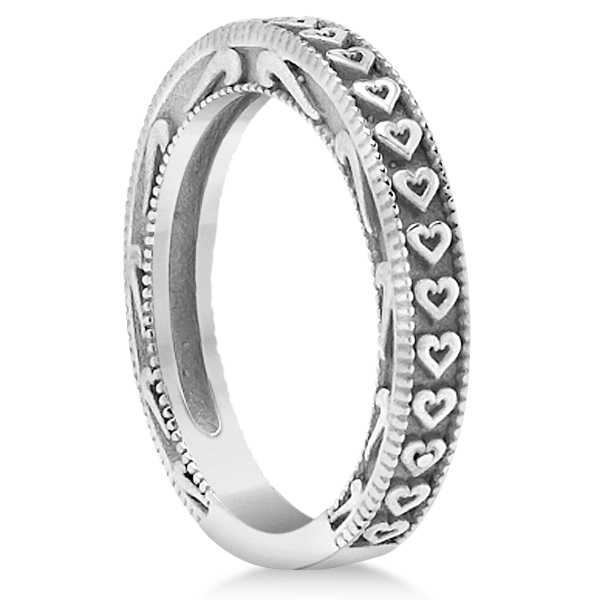 Carved Engagement Ring with Wedding Band Bridal Set in Palladium