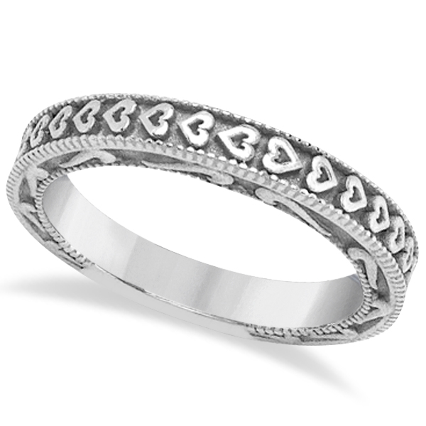 Carved Heart Wedding Ring Ladies Bridal Band Crafted in Palladium