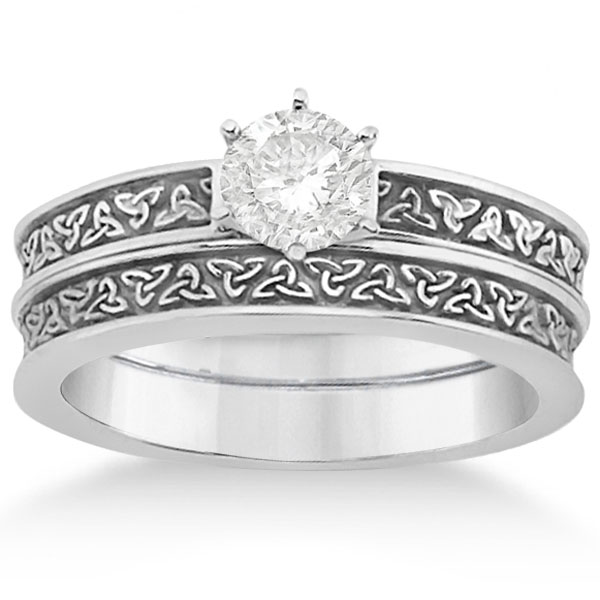 carved irish celtic engagement ring wedding band set 14k white gold - Irish Wedding Ring Sets