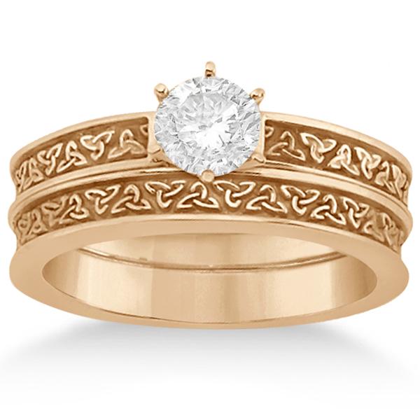 Carved Irish Celtic Engagement Ring U0026 Wedding Band Set 18K Rose Gold - U2450