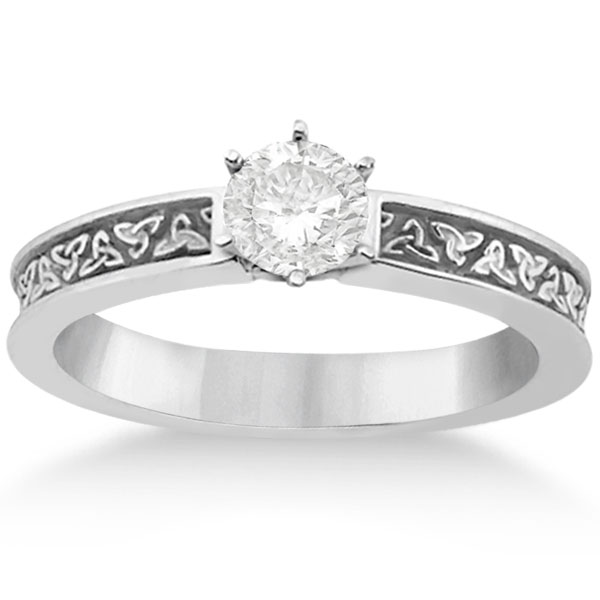 Carved Irish Celtic Engagement Ring & Wedding Band Set Platinum