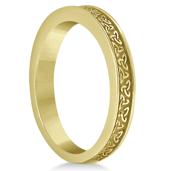 Unique Carved Irish Celtic Wedding Band in 18K Yellow Gold
