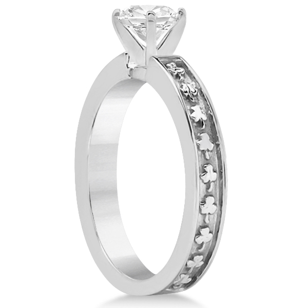 Carved Clover Solitaire Engagement Ring Setting in 14K White Gold