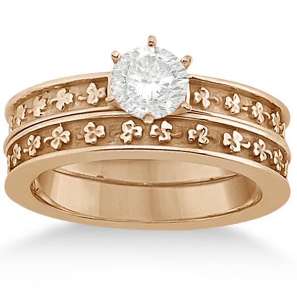 Carved Clover Engagement Ring & Wedding Band Bridal Set 14K Rose Gold