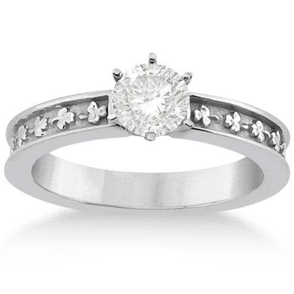 Carved Clover Engagement Ring & Wedding Band Bridal Set 14K White Gold
