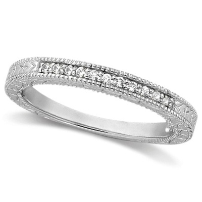 Antique Style Pave Set Wedding Ring Milgrain Band Palladium (0.30ct)