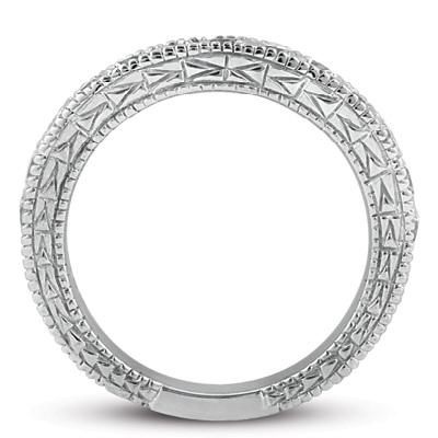 Antique Style Pave Set Wedding Ring Anniversary Band Platinum (0.30ct)
