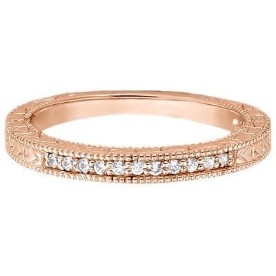 Antique Style Pave Set Wedding Ring Band 14k Rose Gold (0.30ct)