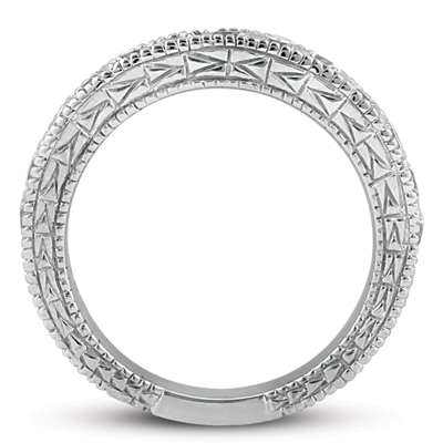 Antique Style Pave Set Wedding Ring Band 14k White Gold (0.30ct)