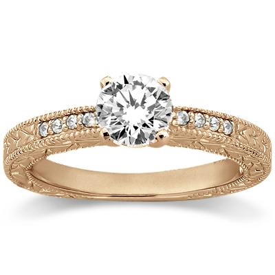 0.20ct Antique Style Diamond Engagement Ring Setting 14k Rose Gold